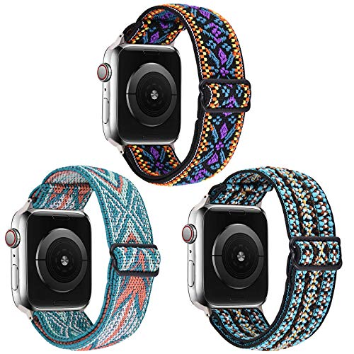 VISOOM Stretchy 3 Packs Bands Compatible with Apple Watch 38mm 40mm 42mm 44mm-Apple Watch Straps for iWatch Series 6/SE/5/4/3/2/1 Women Accessories (Green suit, 38mm/40mm)