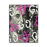 DFRES Benjamin Franklin Wall Art Graffiti Pintura ImpresióN De Lienzo Decoracion del Hogar PóSter De Personajes Famosos Cuadros para La Decoracion De La Salon De Estar 60x80 Cm Sin Marco