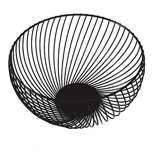Tnaleve 1 cuenco de fruta mental, cesta de frutas creativas para el hogar de metal, hierro para decoración de cocina, color negro, 20 x 10 x 7,5 cm