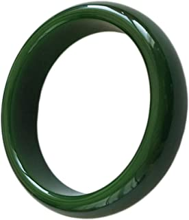 QJBMEI Jade Bangle Bracelets for Women, Chinese Style Fine Green Widened Thick Jade Bangle, H00-06,60mm