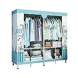 JIAO PAI Armario de dormitorio, soporte de metal, para hogar, armario, para niñas, almacenamiento abierto, instalación estable, 170 x 140 x 48 cm (tamaño: 170 x 140 x 48 cm, color: F)