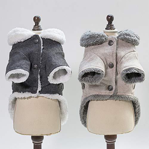 DishyKooker Warmes Haustier Sweatshirt Hund Kleidung Mantel Kostüm mit Knopf für Teddy Zwergspitz Welpen, hellbraun, xxl