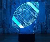 Ballon de rugby 3D lampe de nuit tactile LED Vision lampe 3D cadeau créatif LED veilleuse cadeau de jour pour enfants