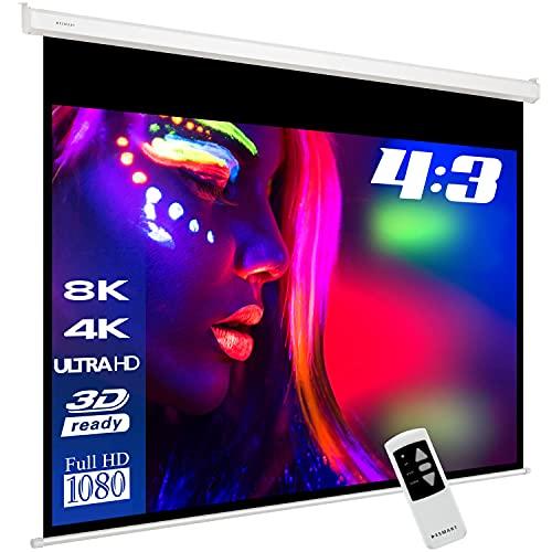 ESMART Professional MIMOTO Motor-Leinwand [Größenauswahl] 305 x 229 cm (150') 4:3   Programmierbare Fernbedienung   Heimkino elektrische Beamer Projektionsleinwand Motor Leinwand LCD LED
