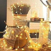LED照明ストリングライトバッテリー駆動のスターラインライト屋内/屋外クリスマスパーティー結婚式の誕生日の装飾ライト星10mライト80ライト屋内/屋外防水バルブカラー