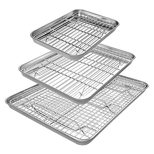 Baking Sheet with Cooling Racks [3 Pans + 3 Racks], Deedro Stainless Steel Cookie Half Sheets Baking Pan Oven Tray with Rack, Heavy Duty, Non-toxic, Easy Clean