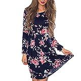 Hansee Frauen Plissee Kleid, Floral Casual Long Sleeve Knielang Kleider, Damen Mädchen, 0814, Navy