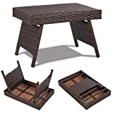 COSTWAY Folding Wicker Table for Indoor & Outdoor, Premium Metal and Waterproof PE, Portable Design for Space Saving, Freestanding Coffee Rattan Side Table, Mix Brown