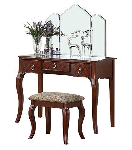 BOBKONA PDEX- Vanity Table With Stool Set, Cherry