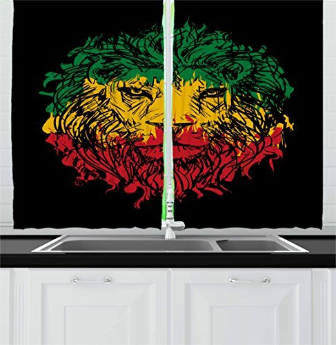 """Ambesonne Rasta Kitchen Curtains, Ethiopian Flag Colors on Grunge Sketchy Lion Head with Black Backdrop, Window Drapes 2 Panel Set for Kitchen Cafe Decor, 55"""" X 39"""", Lime Green"""