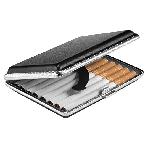 VVAY Portasigarette Pelle, Elegante Porta Sigarette Metallo per 16 Sigarette 95mm (Nero)