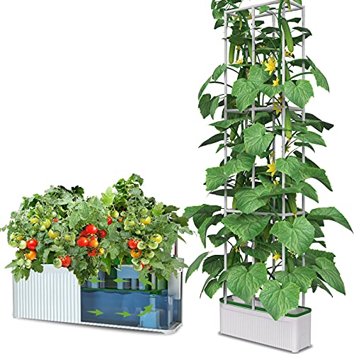 """eSuperegrow Hydroponics Growing System for Indoor Outdoor Garden,7L Large Hydroponic Gardening System with Trellis for Cucumber Tomato Pepper Mint,Ideal Gardening Gifts for Women(Pump,7L,67"""" Trellis))"""