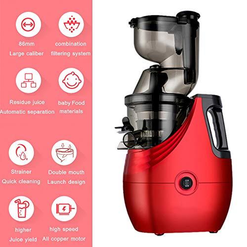 Máquina exprimidora Exprimidor de masticación lenta Extractor de jugo de boca ancha Zumo fresco y saludable Boca ancha 85 mm Canal de alimentación Libre de BPA Prensa en frío,Rojo