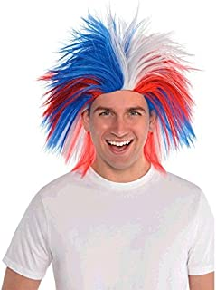 Amscan Crazy Party Wig Costume, Red, White And Blue