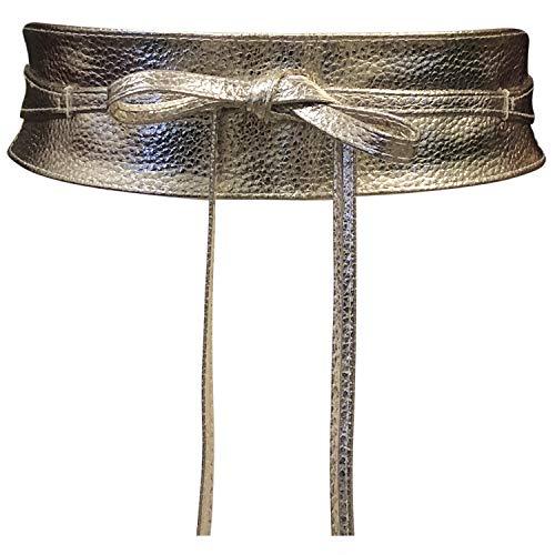 Cinturón Obi de mujer Banda de cintura ancha de encaje Cincha de cuero sintético Ate una talla Boho (Cuero Dorado)