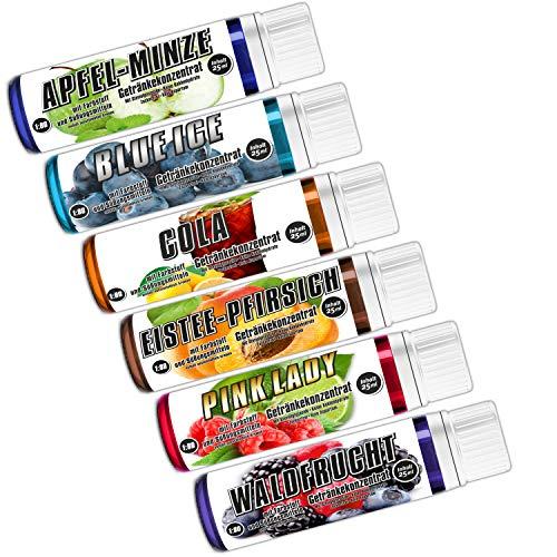 C.P. Sports Getränkekonzentrat 25ml Probe – 6 Geschmäcker Test Mix NEU-1 – zuckerfrei, kalorienfrei, aspartamfrei – Verhältnis 1:80 – L-Carnitin, Vitamine – Sport Konzentrat Sirup Getränkesirup