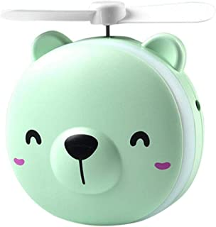 Kiera Portable 3 in 1 Cartoon LED Makeup Mirror Light with USB Mini Fan Green Color