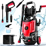 Suyncll Electric Pressure Washer 3500PSI Max 2.8 GPM Power Washer 1800W High Pressure Washer Cleaner with 20 Ft Hose & 35 Ft Wire, All-in-one Nozzle(With Hose Reel, Red & Black)
