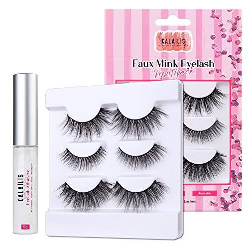 CALAILIS False Eyelash, Eye Makeup Lash 3D Faux Mink Fake Eyelash Long Natural Eyelashes 3 Pairs with 5g False Eyelash Glue (CS19)