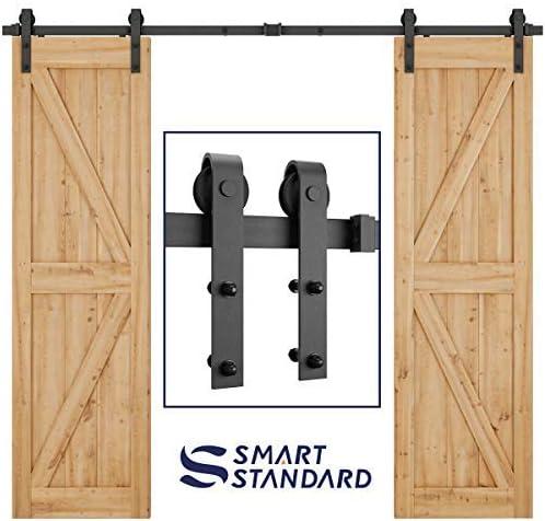 SmartStandard 8ft Heavy Duty Double Door Sliding Barn Door Hardware Kit - Smoothly and Quietly - Easy to Install -Inc...