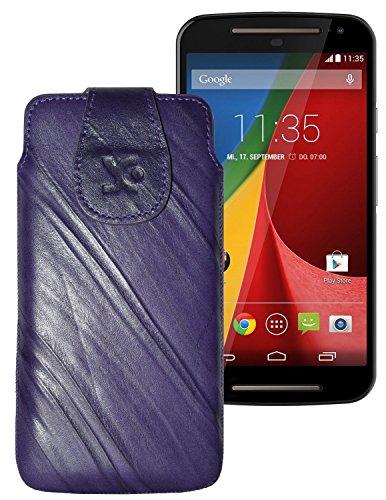 Suncase Tasche für / Motorola Moto G 4G LTE (2. Gen.) / Leder Etui Handytasche Ledertasche Schutzhülle Hülle Hülle / in wash-lila