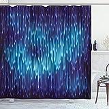 ABAKUHAUS Blau Duschvorhang, Kosmischer Regen Effect Vivid, mit 12 Ringe Set Wasserdicht Stielvoll Modern Farbfest & Schimmel Resistent, 175x240 cm, Schwarz Blau