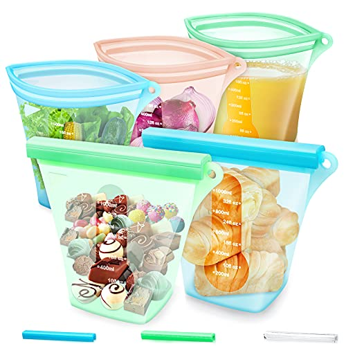 Reusable 100% Silicone Food Storage Bags-5Pcs BPA Free Platinum Grade Stand up Food Bunker Container,Zipper Leakproof Reusable Sandwich Bags,Freezer Bags,Snack Bags (2x35.2Oz +3x17.6Oz)