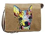 Hunde Motiv Umhängetasche für Hundehalter mit Hunde Tasche Canvas Chihuahua Hund Hundebesitzer Hundehalter Dog Hunde Artikel Dogs Hundefreund