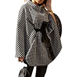 Women Autumn Winter Clothes Houndstooth Cape Coat Shawl Poncho Pullovers Outwear Warm Fall Winter Jacket Overcoat. (Black, One Size)