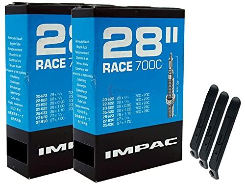 pneugo! Impac Sclaverand 20-662/28-622 (Race) - Juego de 2 cámaras de aire para bicicleta (28', incluye 3 desmontadores de neumáticos)