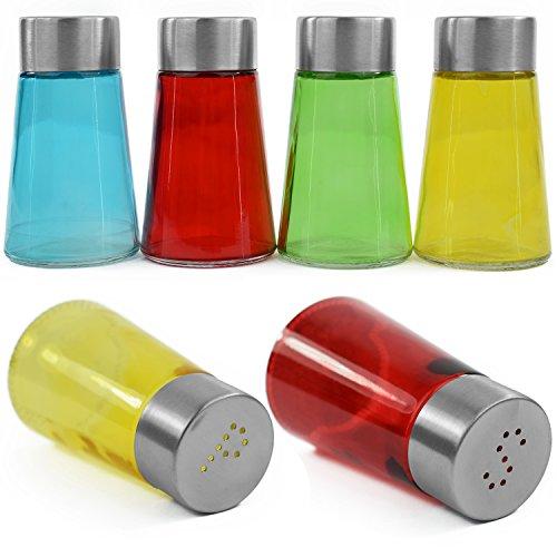 My-goodbuy24 4er Set Salzstreuer Pfefferstreuer Streuer Gewürzstreuer gewürzgläser Pfeffer Salz Glas Metall Mühle gelb rot blau grün