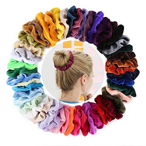 50 Stück Haargummis Velvet, DazSpirit Haargummis Scrunchies Samt Haargummis in 50 Farben Elastische Haarbänder mit Aufbewahrungstasche Vsco Visco Girl Stuff Haarschmuck