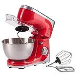 Ultratec Robot de cocina con recipiente de acero inoxidable, mezcladora / amasadora con recipiente de 4,5 l, robot de cocina con varillas de globo, gancho de amasar y varillas amasadoras, 800 W, rojo
