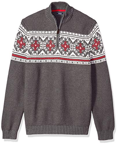 IZOD Men's Big Fairisle Quarter Zip 5 Gauge Sweater, Carbon Heather, X-Large Tall