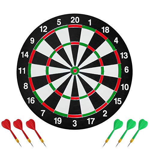 Darts board,Double Sided Dart Board Set with 6 Darts,17' Traditional Style...