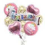 Xinlie 9 Pièces Joyeux Anniversaire Ballon Bannière Danderole Anniversaire Decoration Anniversaire Ballons Anniversaire Décorations Articles de Fête Ballons Aluminium et Latex 10M Ruban (Rose)