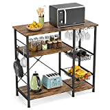 Ecoprsio Kitchen Baker's rack, Utility Microwave Stands Storage for Spice, 4-Tier+3-Tier coffee bar table with wine glass holder, 5 Hooks, Rustic Brown