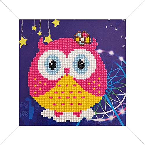 artkai DIY 3D Diamond Painting Kit for Kids-Cute Owl with Colourful and Sparkling Diamonds-for Children and Adult Beginners-8 8 inches Wooden Frame and Full Craft Set are Available-Easy to Complete