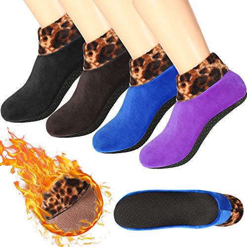 4 Pairs Non-Slip Thermal Socks Fleece Lady Floor Socks Leopard Printed (Black)