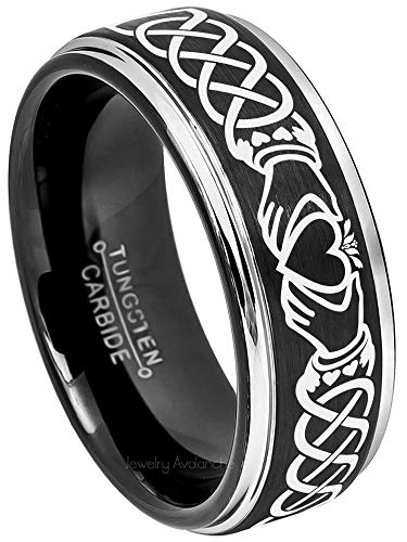 Mens Celtic Claddagh Tungsten Ring -8mm Brushed Finish Black IP & Gunmetal Stepped Edge Comfort Fit Tungsten Carbide Wedding Band - #670s10