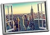 Cuadro con efecto de ventana 3D de Nueva York Skyline en 3D para pared (30 x 50 pulgadas)