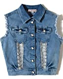Girls Vest Sleeveless Jean Jacket Patchwork Lace Denim Vest Waistcoat (13-14 Years/Height 164, Light Blue Washed)
