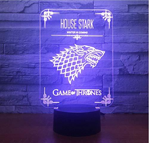 Kreative Illusion LIEBE Haus Stark GameWolf 3D 7 Farbe Led Nachtlampen Für Kinder Touch Led Usb Tisch Baby Schlafen Nachtlicht