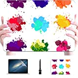 Accesorios para Macbook Pro Set Coloridas Salpicaduras de Acuarela Carcasa rígida de plástico Fundas para Mac Macbook Accesorios de protección para Macbook con Alfombrilla de ratón
