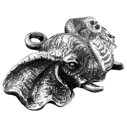 (M) ペンダント トップ メンズ アフリカゾウ 象 アニマル ネックレス チョーカー アクセサリーパーツ チャーム シルバー 立体 3D リアル DIY 金属 部品 アジアン エスニック