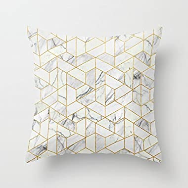 UOOPOO Marble hexagonal pattern Cotton Canvas Throw Pillow Case 20 x 20 Inches Square Cushion Cover for Sofa(Not Real Gold, Just Print Pattern Pillow Cover)