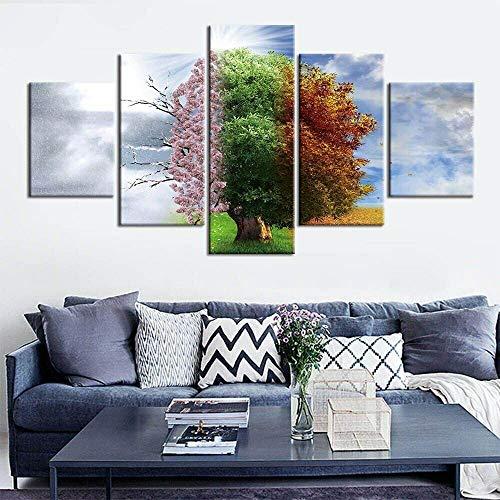 DBFHC Cuadros Modernos Impresión De Imagen Artística Digitalizada Árbol, Cuatro Estaciones, Naturaleza Lienzo Decorativo para Salón O Dormitorio 5 Piezas XXL