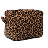 Leopard Cosmetic Bags Large Brown Cheetah Canvas Make Up Bag Purse Lightweight Versatile Travel Toiletry Purse Accessories Organizer Gifts for Women Men