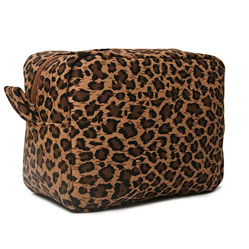 Leopard Cosmetic Bag Canvas Cheetah Makeup Bag Leather Large Waterproof Versatile Travel Toiletry Purse Accessories Organizer Gift for Women
