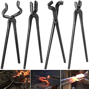 Blacksmith Tongs Tools Set Knife Making Tongs Includes V Bit Tongs Flat Jaw Tongs Wolf Jaw Tongs & Blade Tongs  4 Piece